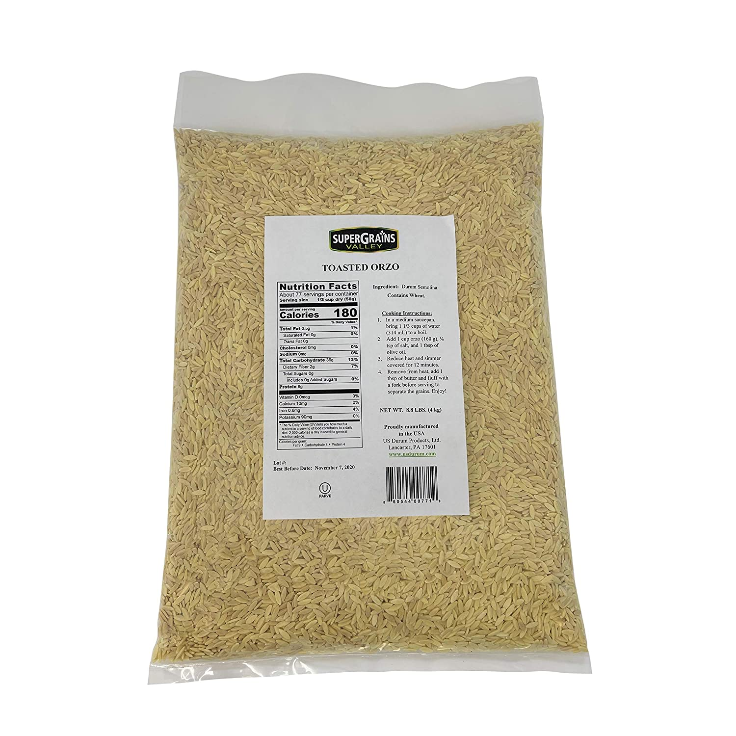 SuperGrains Valley Toasted Orzo Max 48% OFF Pasta Weekly update 8.8lbs Quality Kosher
