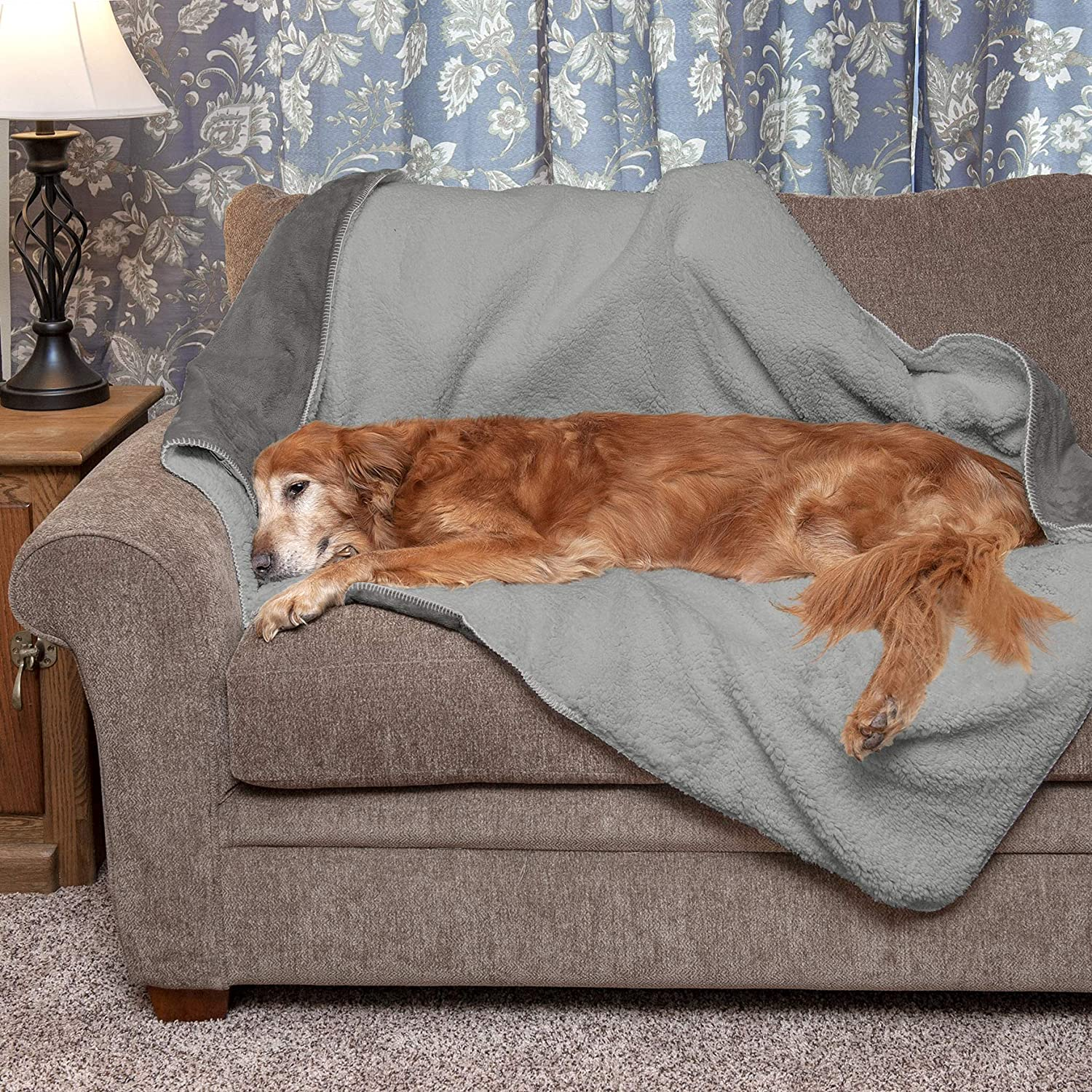 Furhaven Pet Bed Blanket for Dogs and Cats - Self-Warming Waterproof Terry and Faux Lambswool Thermal Dog Throw Blanket, Washable, Silver Gray, Large : Pet Supplies