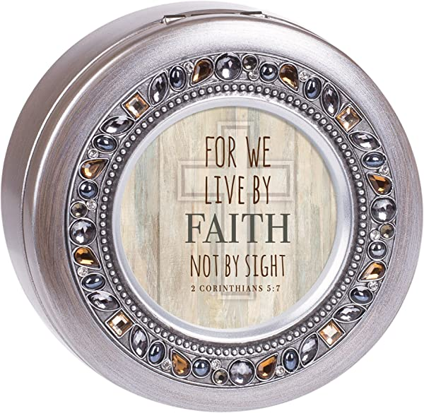 Cottage Garden Live By Faith Not By Sight Brushed Silvertone Jewelry Music Box Plays Amazing Grace