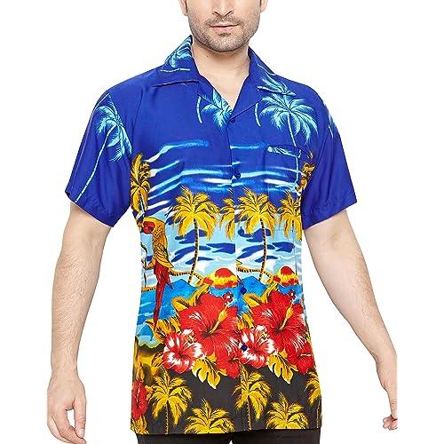 37671da9 CLUB CUBANA Men's Regular Fit Classic Short Sleeve Casual Floral Hawaiian  Shirt