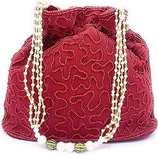 WOMEN'S ELEGANT HANDMADE INDIAN POTLI BAG/HANDBAG/PURSE/CLUTCH BAG ADORA ACI097 RED