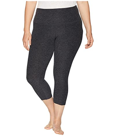 Beyond Yoga Plus Size Spacedye High Waisted Capris (Black/Charcoal) Women