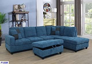 Merveilleux Beverly Fine Furniture SH122B Right Facing Russes Sectional Sofa Set With  Ottoman, Blue