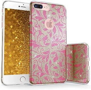 真正的彩色手机壳可与 iPhone 7 Plus 闪光手机壳,闪闪闪发光的花朵装饰图案三层混合式女孩手机壳带防震 TPU 外壳 - 金色粉色