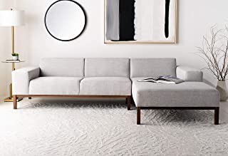Safavieh Couture Home Dove Mid-Century Modern Light Grey and Dark Brown Sectional