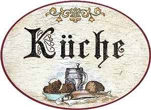 Kaltner Präsente–Regalo Idea–Placa para puerta madera en el Antiguo Diseño De Cocina (18cm de diámetro)