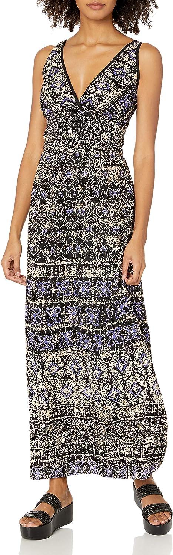 Angie Women's Blue Printed Maxi Dress