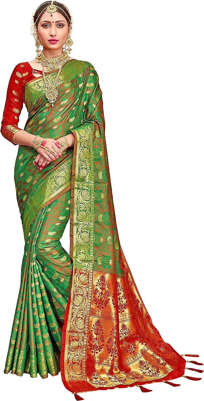 ELINA FASHION Sarees for Women Patola Art Silk Woven Work Saree l Indian Traditional Wedding Ethnic Sari with Blouse Piece