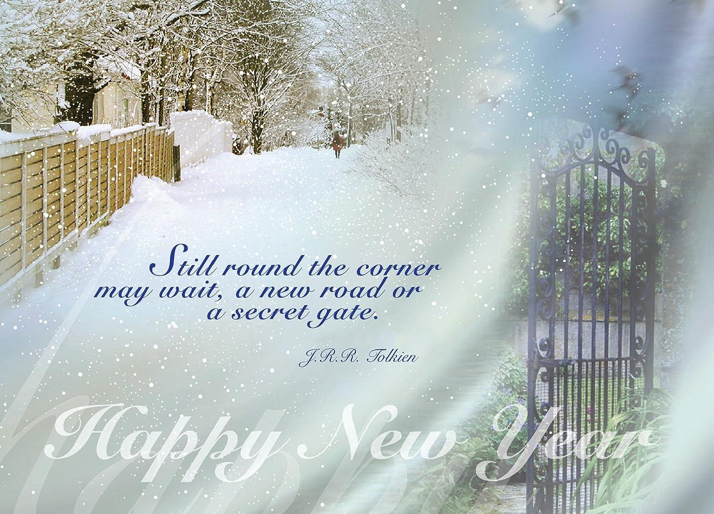 New New New Year Grußkarten – n8008. Business Grußkarte mit Winter-Szene und einem Zitat aus tolkein. Box Set Hat 25 Grußkarten und 26 weiß mit silber Folie gefüttert Umschläge. B013RJC69I  | Qualifizierte Herstellung  915a22