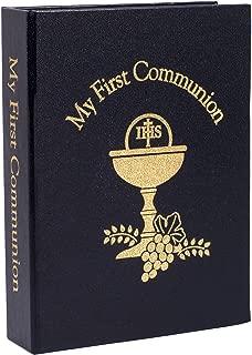 My First Communion Black Rosary Prayer Book Lapel Pin 4 Piece Set for Boy