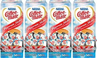 NESTLE COFFEE-MATE Coffee Creamer, Peppermint Mocha, liquid creamer singles, 50 Count (Pack of 4)