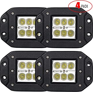 TURBO SII 4PCS 3X3 4.5In Flood Beam Flush Pods Led Work Light Driving Lights Led Light Bar Off Road Led Lights Flush Mount for Jeep Truck Tacoma Bumper Lights ATV UTV 12V 24V