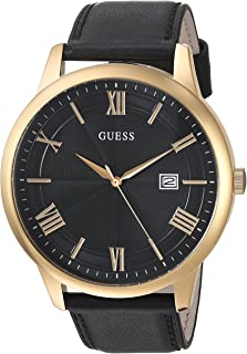Oversized Classic Black Genuine Leather Watch with Date. Color: Black/Gold-Tone (Model: U0972G2)