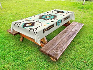 Ambesonne Southwestern Outdoor Tablecloth, Ethnic Illustration of a Zigzags Design Triangular Iconic Artwork Motifs, Decorative Washable Picnic Table Cloth, 58