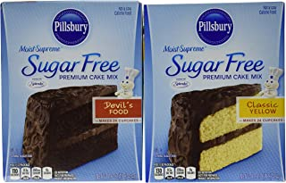 Pillsbury Sugar Free Cake Mix Value Bundle - 1 Box Sugar Free Devil's Food Cake & 1 Box Sugar Free Classic Yellow Cake