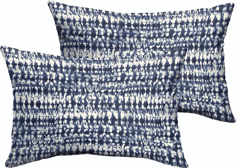Mozaic AZPS8432 Indoor Outdoor Lumbar Pillows, Set of 2, 12 x 18, Indigo Blue & White