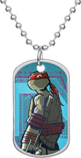 Nickelodeon Teenage Mutant Ninja Turtles Stainless Steel Raphel Dog Tag Bead Necklace