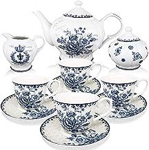 BTäT - Tea Set, China Tea Set, Tea Service, Tea Cups (8oz), Creamer and Sugar Set, Tea Cups and Saucer Set, Tea Pot, Tea S...
