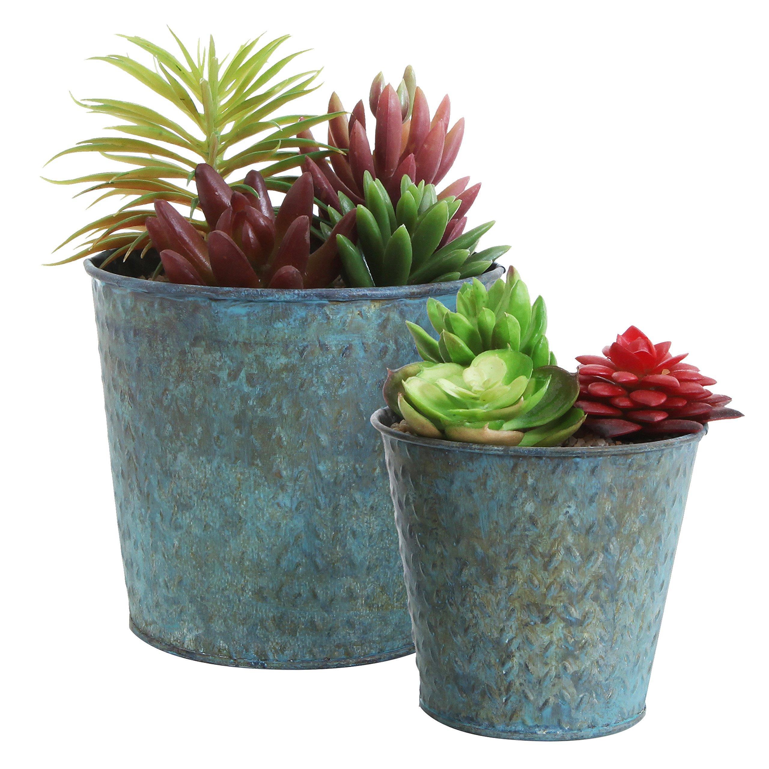 225 & Metal Rustic Flower Pots: Amazon.com