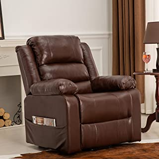 Power Lift Recliner Arm Chair Sofa PU Leather - Heavy Duty and Safety Motion Reclining Mechanism - Living Room Couch- Side Storage Bag - Elegant and Comfortable by XTWEEX (Brown)