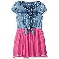 GUESS Girls' Little Cap Sleeve Denim Ruffle Two-fer Dress