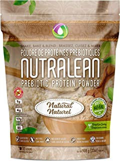 NUTRALEAN - Unflavored Prebiotic Protein Powder - 100% All Natural   Peanut-Free   Nut-Free   Gluten-Free   Soy-Free   NO Artificial Sweeteners   Grass Fed Whey   Ideal Keto Shakes & Fiber Supplement