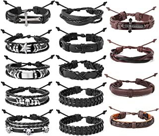14PCS Braided Leather Bracelet for Men Women Punk Wrap Cuff Bracelet Adjustable Black and Brown