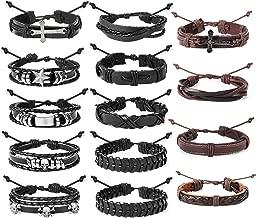 FUNRUN JEWELRY 14PCS Braided Leather Bracelet for Men Women Punk Wrap Cuff Bracelet Adjustable Black and Brown