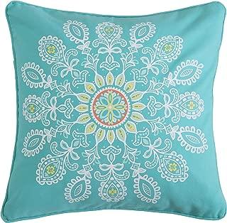 Laurel Coral Teal Geometric Pillow