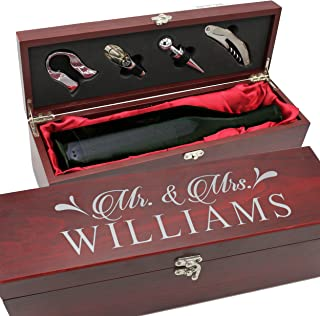 Personalized Wood Wine Box - Anniversary Ceremony Couples Wedding Wine Gift Box Holder - Custom Engraved for Free (Rosewood)