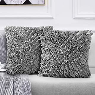 Leeden 18×18 Throw Pillow Cover Set of 2 Decorative Square Gray Cushion Cases Cover..