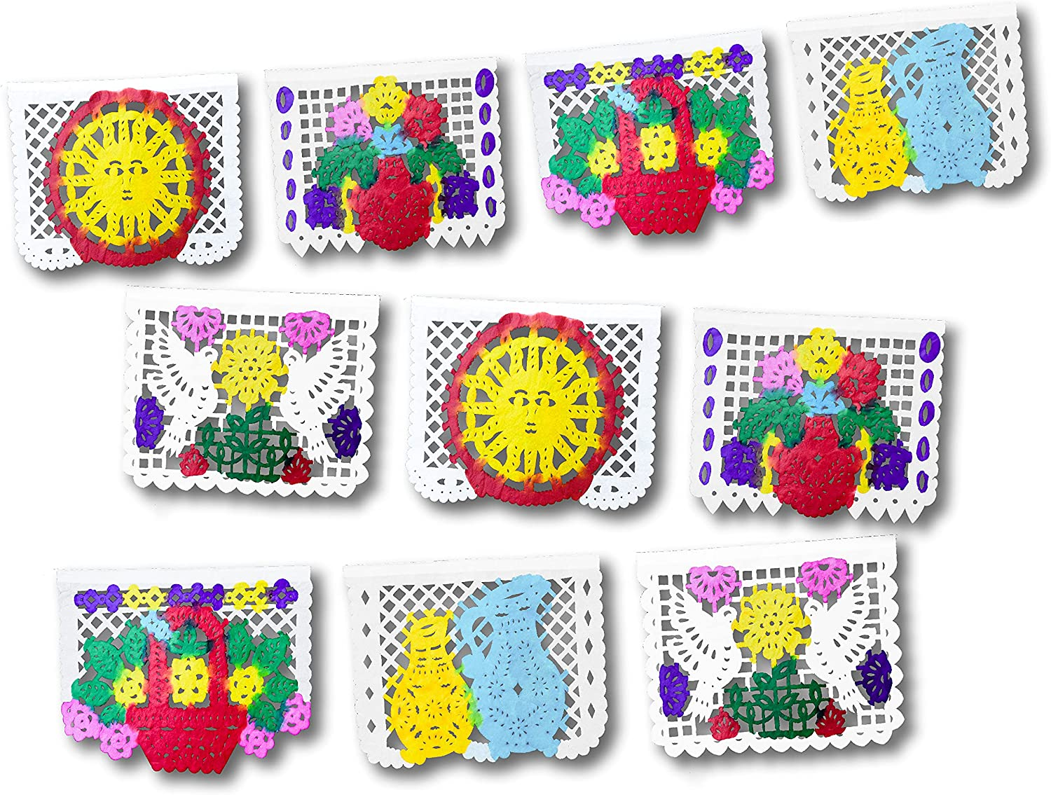Fiesta Brands Papel Picado Mexicano Banner - Mexican Theme Tissue Paper Flags - Party Decorations for Cinco De Mayo, Dia De Los Muertos - Colorful Handpainted Banners for Birthday Decor - 16 Ft Long