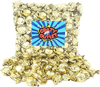 Funtasty Gold Foiled Hard Candy Buttons, Orange Flavor, Wedding Day Candies, Bulk Pack, 2 lbs