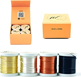 20 Gauge Tarnish Resistant Silver-Plated Copper and Copper Wire Set of 4 spools for Wrapping Jewelry Making Beading Floral Colored DIY Artistic Craft Coil Wire kit (WF Color Set 1, 0.80 mm)