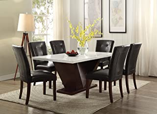 Acme Forbes White Marble Dining Table, Walnut Finish