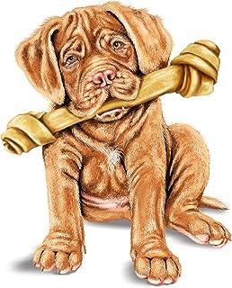 B&A Cute French Mastiff Pet Puppy Dog w/Bone - Vinyl Sticker