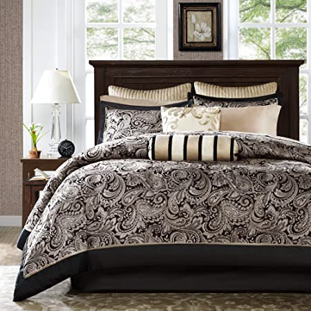 Madison Park Aubrey Queen Size Bed Comforter Set Bed In A Bag - Black, Champagne , Paisley Jacquard – 12 Pieces Bedding Sets – Ultra Soft Microfiber Bedroom Comforters