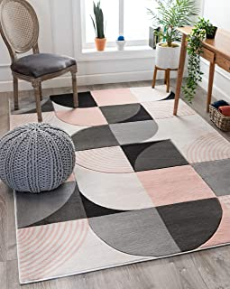 Well Woven Maggie Blush Pink Modern Geometric Dots & Boxes Pattern Area Rug 5x7 (5'3