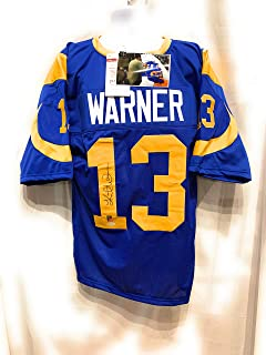 Kurt Warner St Louis Rams Signed Autograph Blue Custom Jersey Warner Hologram JSA Witnessed Certified