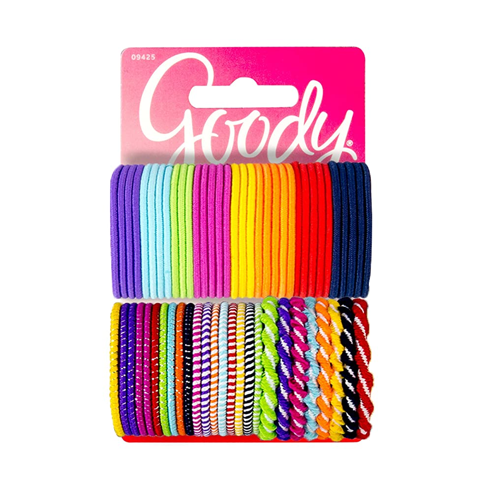 Goody Girls Ouchless Elastics Perfect for Girls with Fine Hair, Curly Hair or Sensitive Scalps (60 Pieces) (Assorted in Brights and Pastels)
