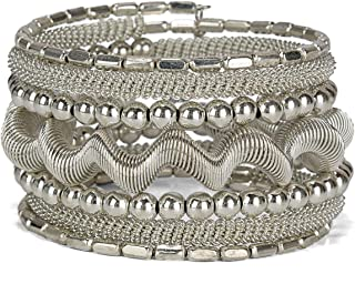 SPUNKYsoul Coil Metal Bangle Bracelet Cuff in Gold Silver or Gun Metal for Women