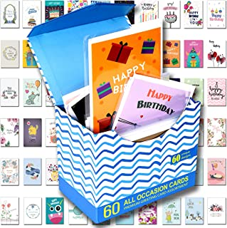 """60 Pack Assorted All Occasion Greeting Cards - 60 UNIQUE DESIGN, BIG 5"""" x 7"""