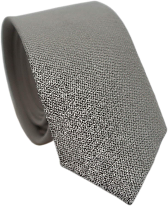 Belluno 2.5 inch Skinny Ties for Men, Solid Cotton Linen Neckties