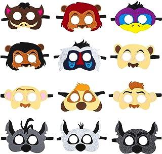 BeYumi 12Pcs Lion King Felt Masks Set for Kids, Safari Jungle Animal Party Favors Supplies, Great Idea for Birthday Costum...