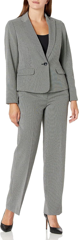 Le Suit Women's 1 Button Peak Lapel Mini Geo Novelty Trouser Pant Suit