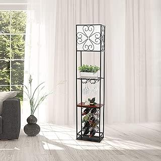 Elegant Designs LF1021-BLK Etagere Organizer Wine Rack Floor Lamp, Black