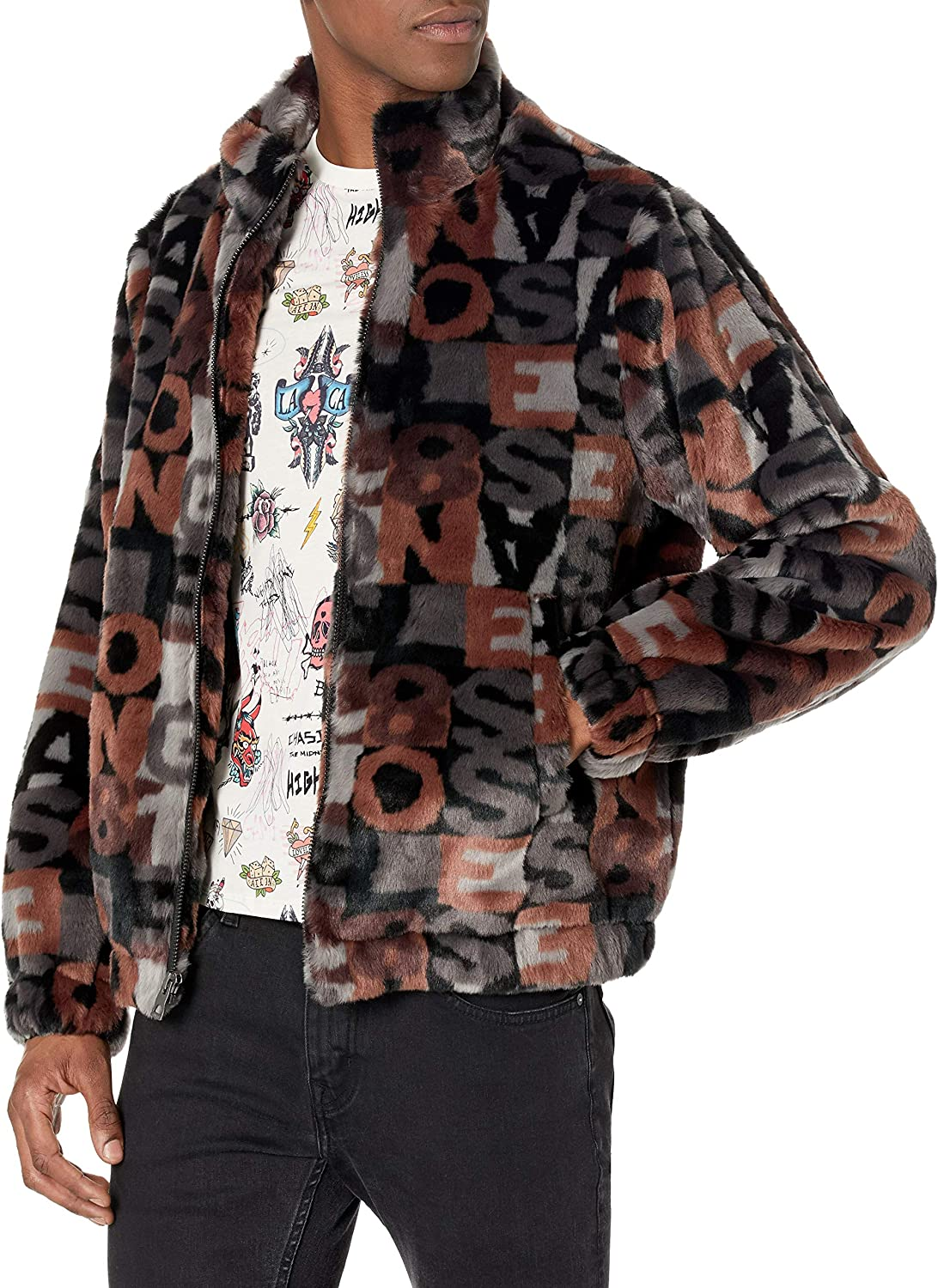 GUESS Men's Jacquard Plush Jacket