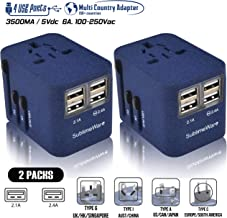 Power Plug Adapter - International Travel - (SandBlue Pack of 2) w/4 USB Ports for 150+ Countries - 220 Volt Adapter - Travel Adapter Type C Type A Type G I f for UK Japan China EU Europe European