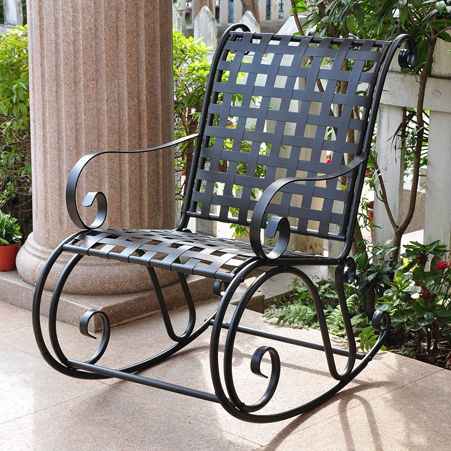 International Caravan Mandalay High Back Iron Patio Rocker in Black