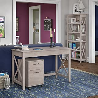 Bush Furniture Key West 48W Writing Desk with 2 Drawer Mobile File Cabinet and 5 Shelf Bookcase in Washed Gray